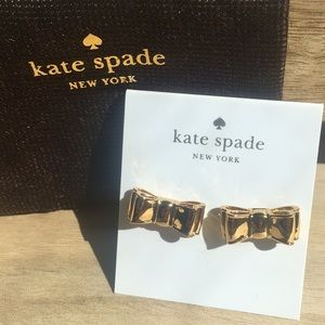 New Kate Spade Gold Bow Moon River Stud Earrings